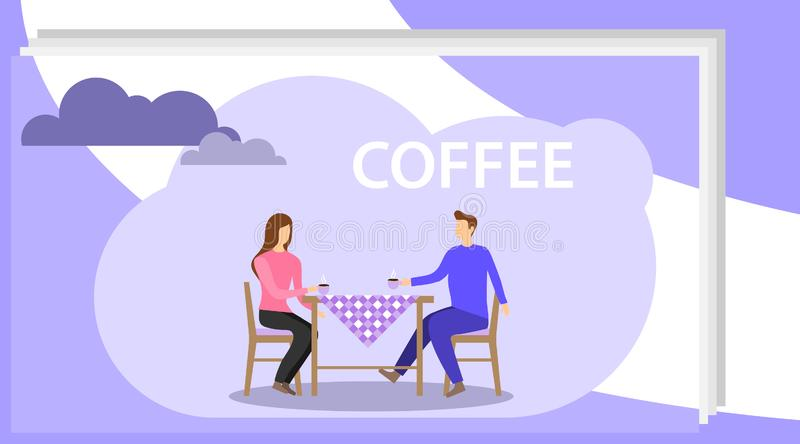 A man and a woman are drinking coffee at a table. People drink coffee in a cafe while sitting at the table. Vector. Illustration, vector vector illustration