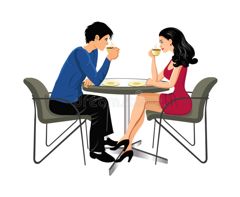 Man and woman drinking coffee stock illustration