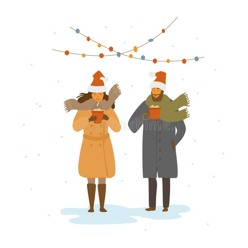 Man and woman drinking hot mulled wine outdoors, winter christmas time isolated vector illustration royalty free illustration