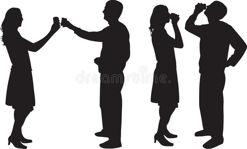 Man and woman drinking silhouette royalty free illustration