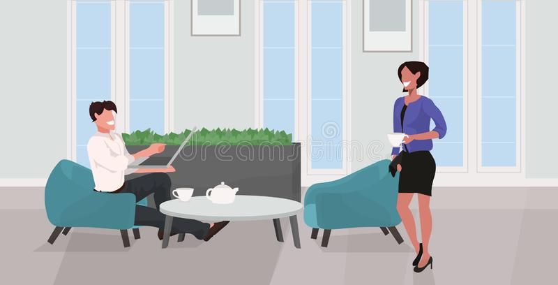 Man woman drinking tea relaxing at home couple having fun using laptop and discussing together modern living room. Interior flat full length horizontal vector stock illustration