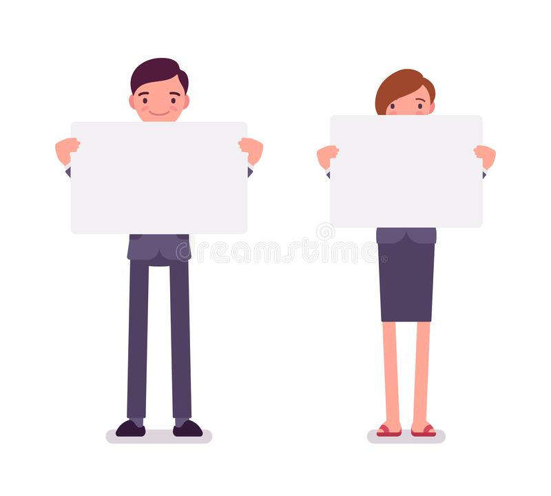 Man and woman with empty white boards, copy space. Man and woman holding empty white boards, demanding for public support, pressure to an employer, asking for royalty free illustration
