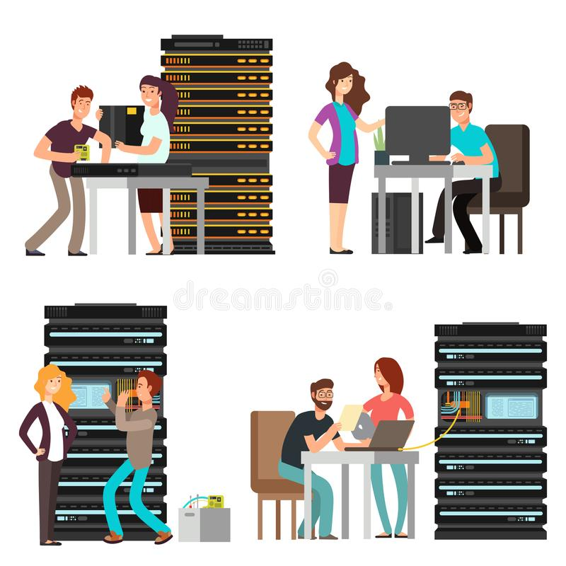 Man and woman engineers, technician working in server room stock illustration