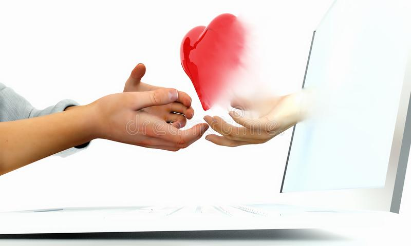 Online dating valentine concept. Man and Woman exchanging a heart across the internet through a laptop. building personal connections stock illustration