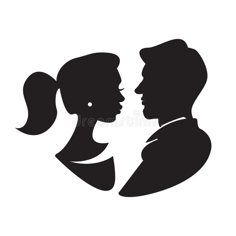 Man and woman face profile, male and female silhouette. Vector stock illustration