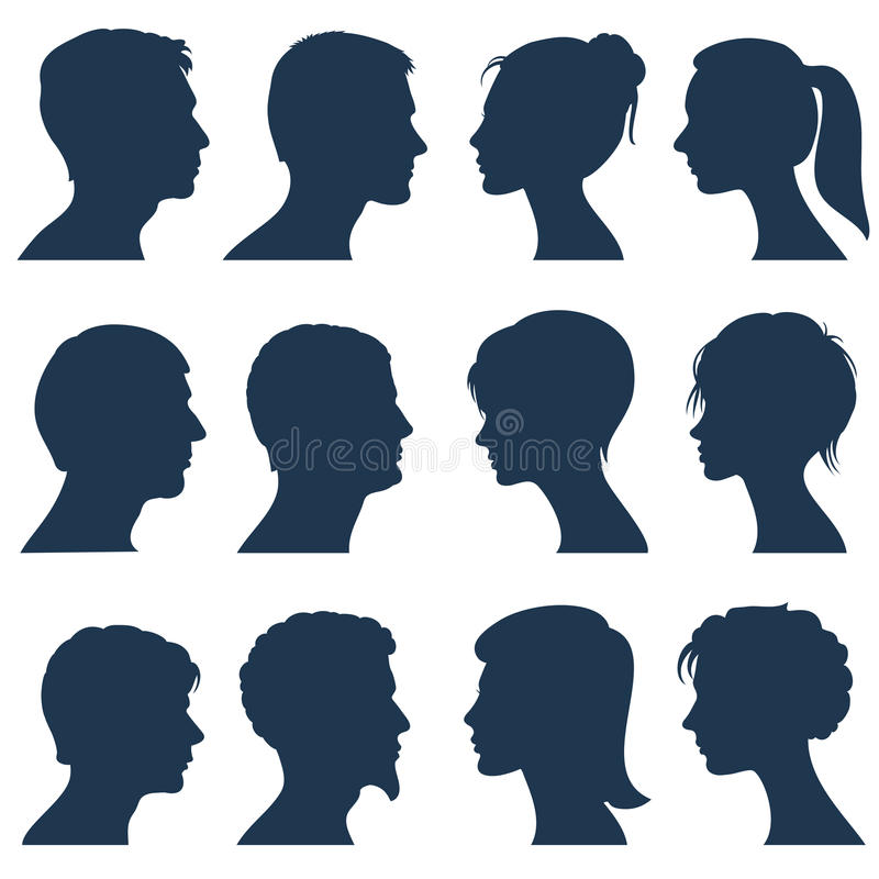 Man and woman face profile vector silhouettes. Silhouette of human head, illustration of silhouette view side head vector illustration