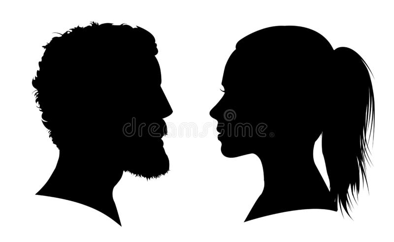 Man and woman face silhouette. Face to face – vector. For stock stock illustration