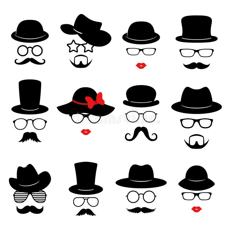 Man and woman faces. Photo props collections. Retro party set with glasses, mustache, beard, hats and lips. Vector royalty free illustration