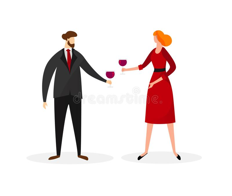 Man and Woman in Festive Dressing Clinking Glasses royalty free illustration