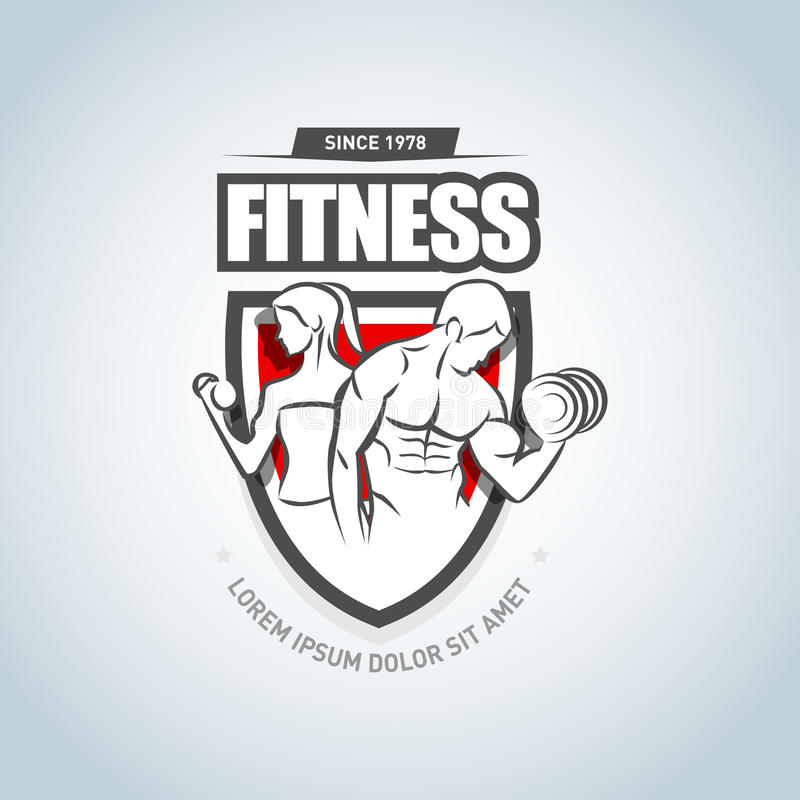 Man and woman Fitness logo template. Gym club logotype. Sport Fitness club creative concept. Vector format. Man and woman Fitness logo template. Gym club royalty free illustration