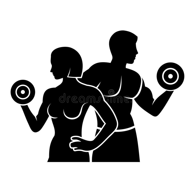 Man and Woman Fitness Silhouette Vector Logo Icon. Man and Woman Fitness Silhouette Vector Logo Illustration vector illustration