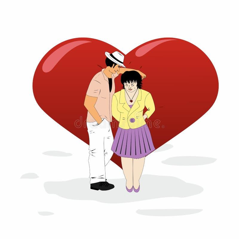 Man and woman flirting at a big heart royalty free illustration