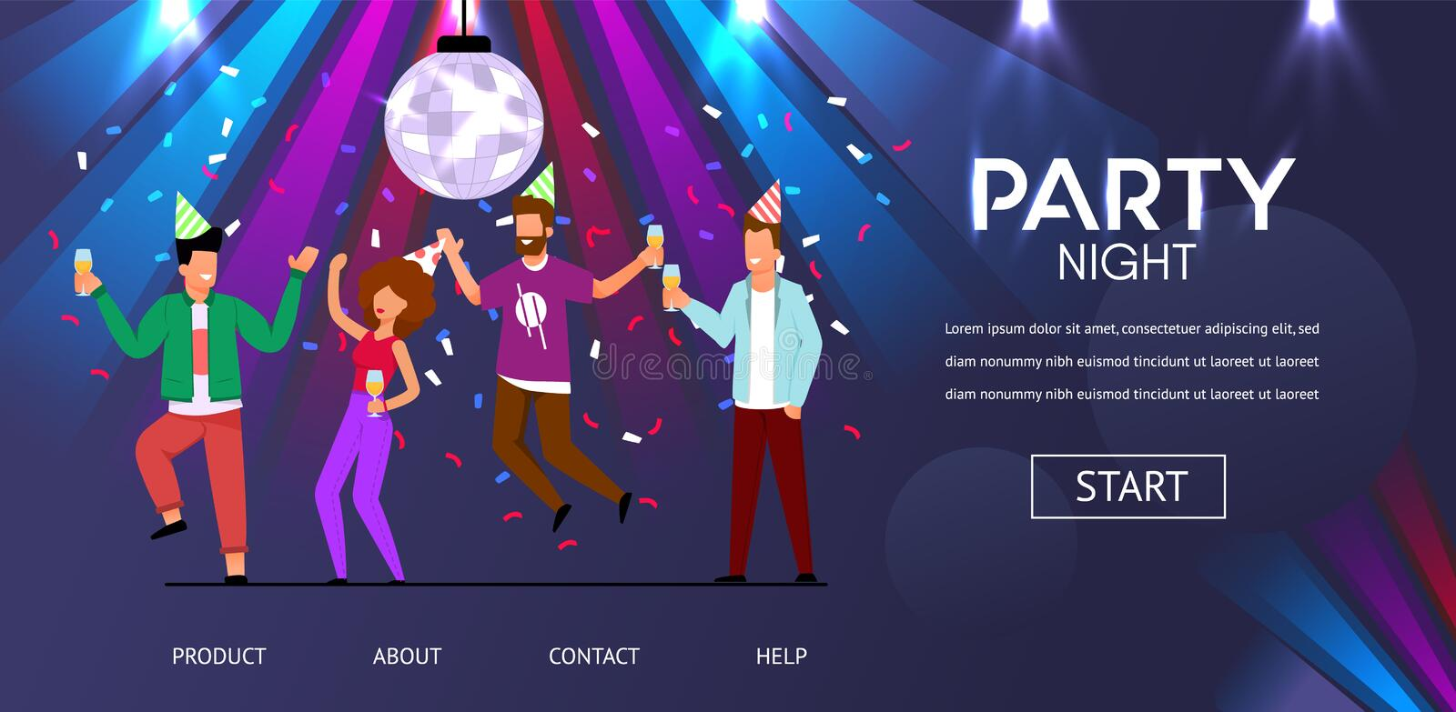 Man Woman Friends Dance Party Night Illustration vector illustration