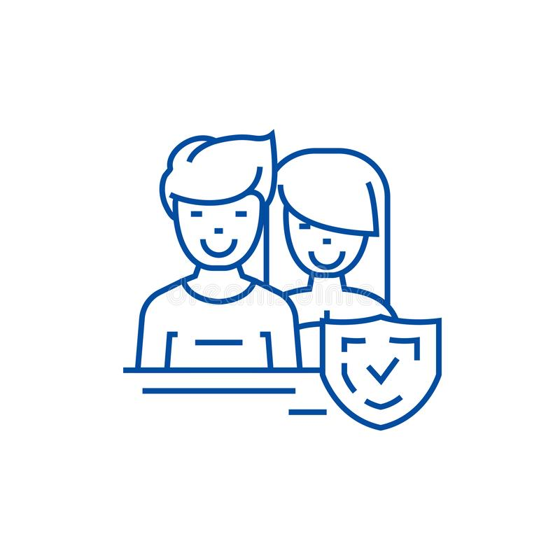 Man and woman,front,shield line icon concept. Man and woman,front,shield flat vector symbol, sign, outline illustration vector illustration