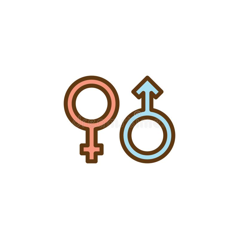 Man and woman gender flat icon stock illustration