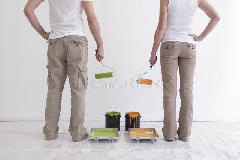 Download Man And Woman Getting Ready To Paint Stock Photo - Image: 3966134