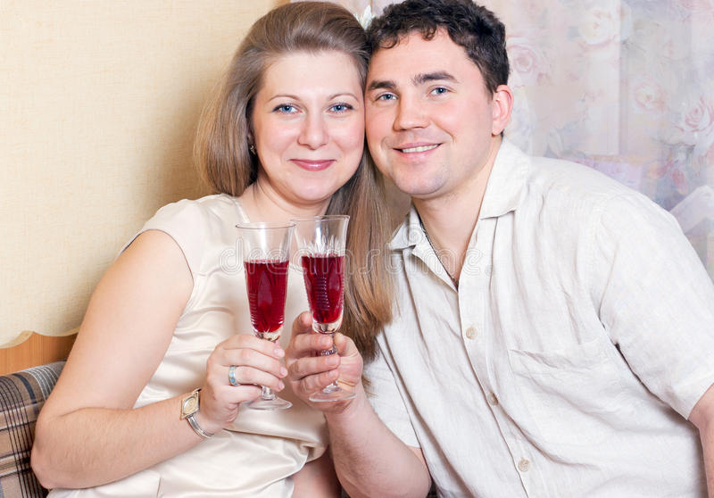 Download The Man And The Woman With Glasses Of Wine Stock Image - Image: 18508827