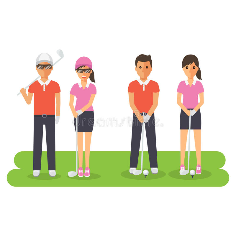 Man and woman golf sport athletes. Golf players playing, teeing off and putting with golf club. Flat design people characters vector illustration