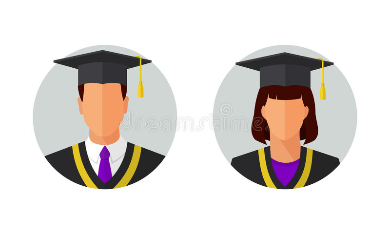Man And Woman Graduated Students Vector Illustration Stock ...