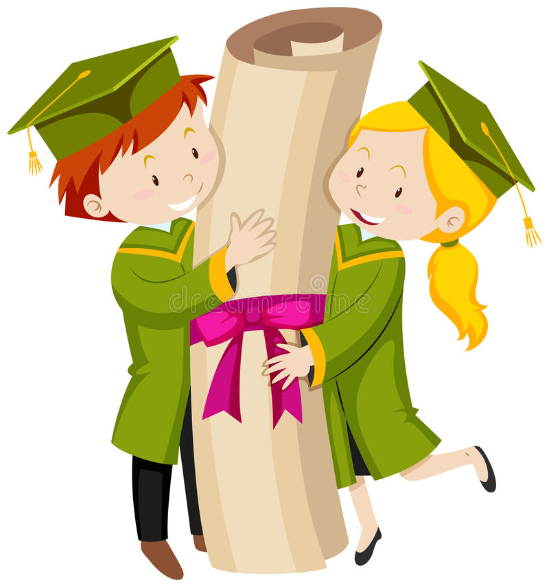Man And Woman In Green Graduation Gown Stock Vector - Illustration ...