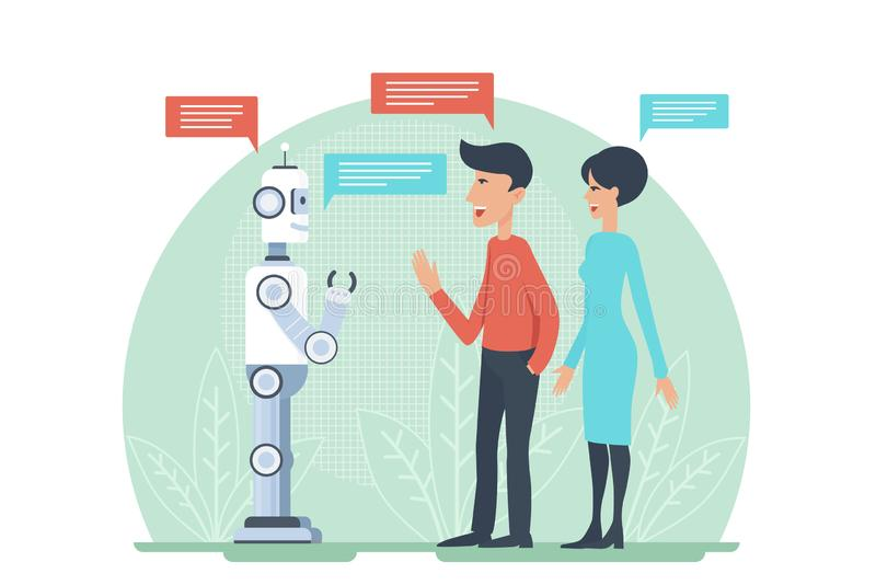 Man and woman greeting and speaking with artificial intelligence android robot vector illustratrion. AI cooperation. vector illustration