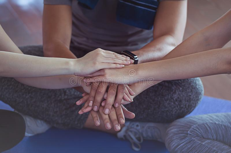 Man and woman hand coordinate hands for trust. Concept Teamwork royalty free stock photo