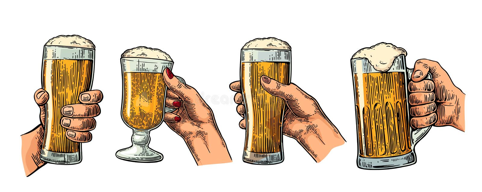Man and woman hands holding and clinking with beer glass. stock illustration