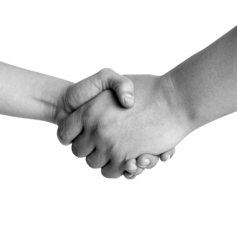 Man and woman handshake black and white isolated stock images