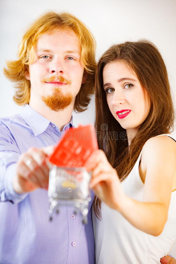 Happy young couple buying real eastate royalty free stock images