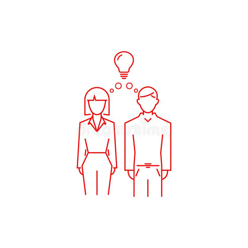 Man and woman have an idea. concept of family strength. vector line style symbol. EPS10, bulb, female, boy, girl, lady, person, contour, outline, profile stock images