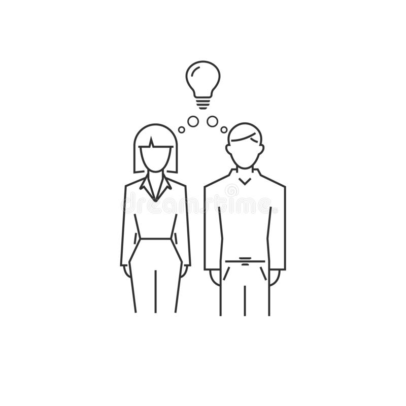 man and woman have an idea. concept of family strength. vector line style symbol royalty free illustration
