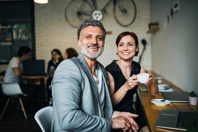 Man and woman having business meeting in a cafe, using laptop. stock image