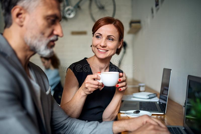 Man and woman having business meeting in a cafe, using laptop. stock photography