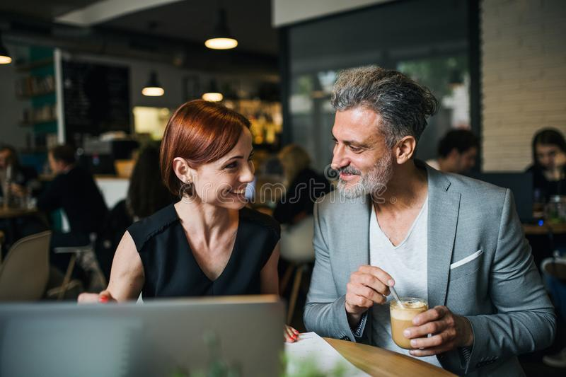 Man and woman having business meeting in a cafe, using laptop. royalty free stock photo