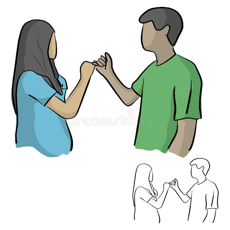 man and woman having pinky promise hand holding vector illustration sketch doodle hand drawn with black lines isolated on white b royalty free illustration