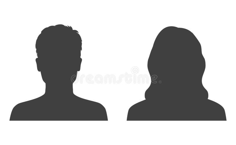 Man and woman head icon silhouette. Male and female avatar profile, face silhouette sign – vector stock illustration
