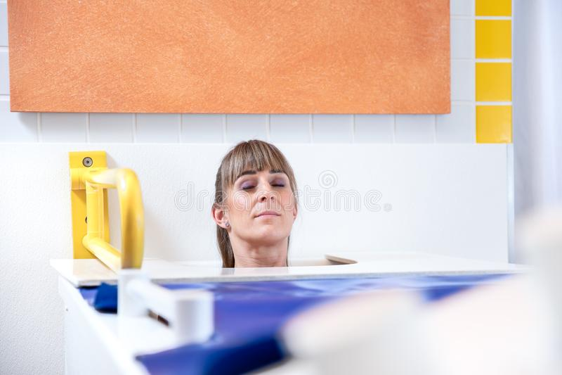 Man ore woman are doing wellness in a therm bath stock photography