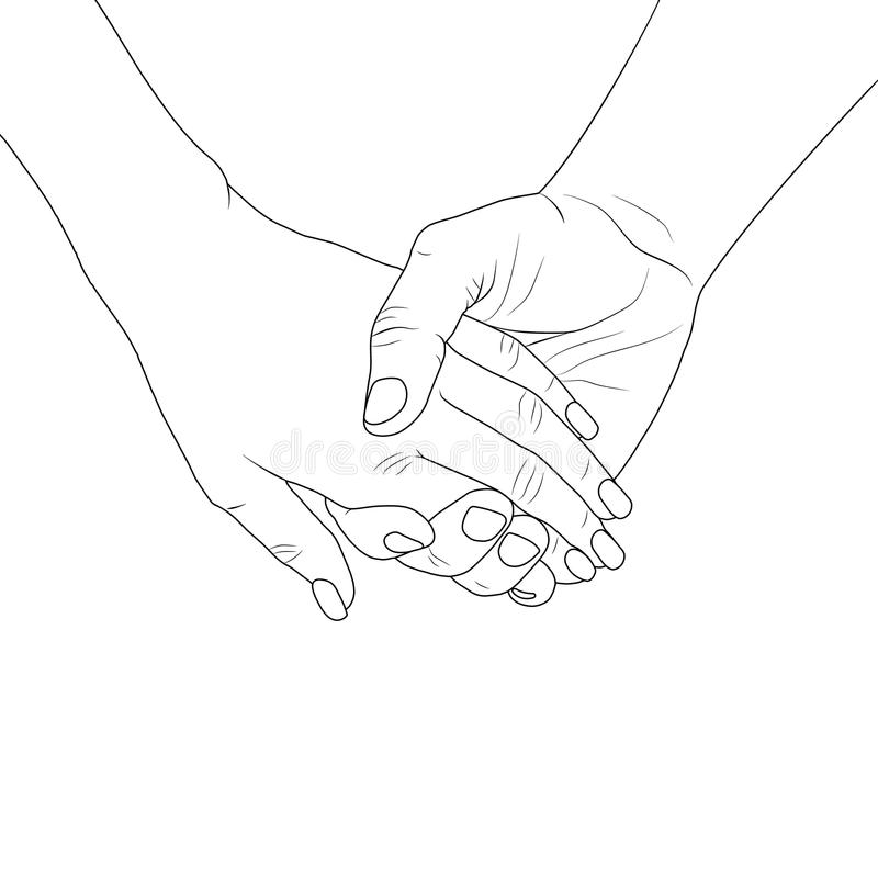 Line Drawing Holding Hands : Lovers holding hands stock vector illustration of drawing