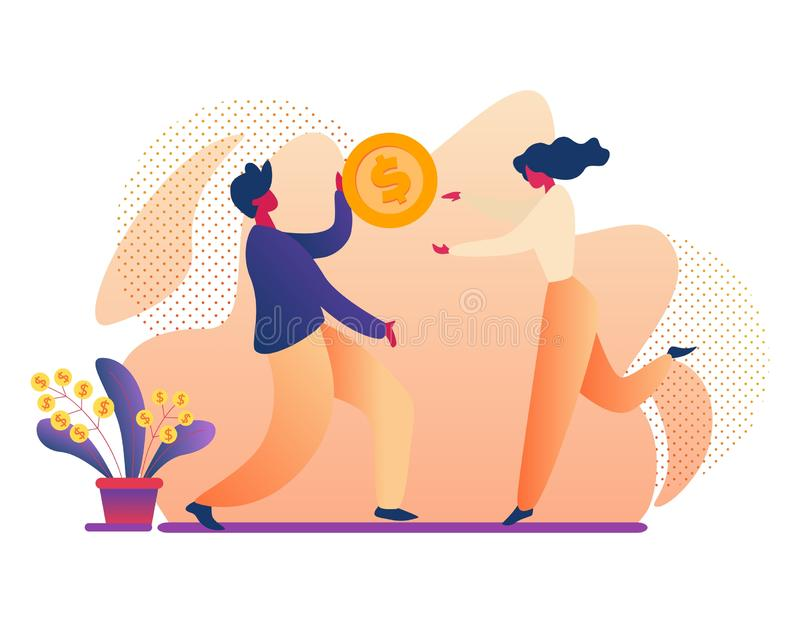 Man and Woman Holding Huge Gold Dollar Coin, Money royalty free illustration