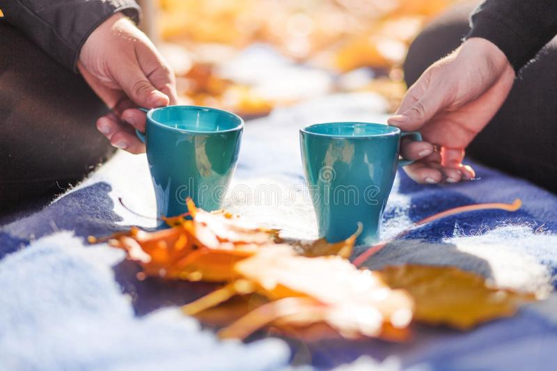 A man and a woman are holding tea cups on a plaid stock photo