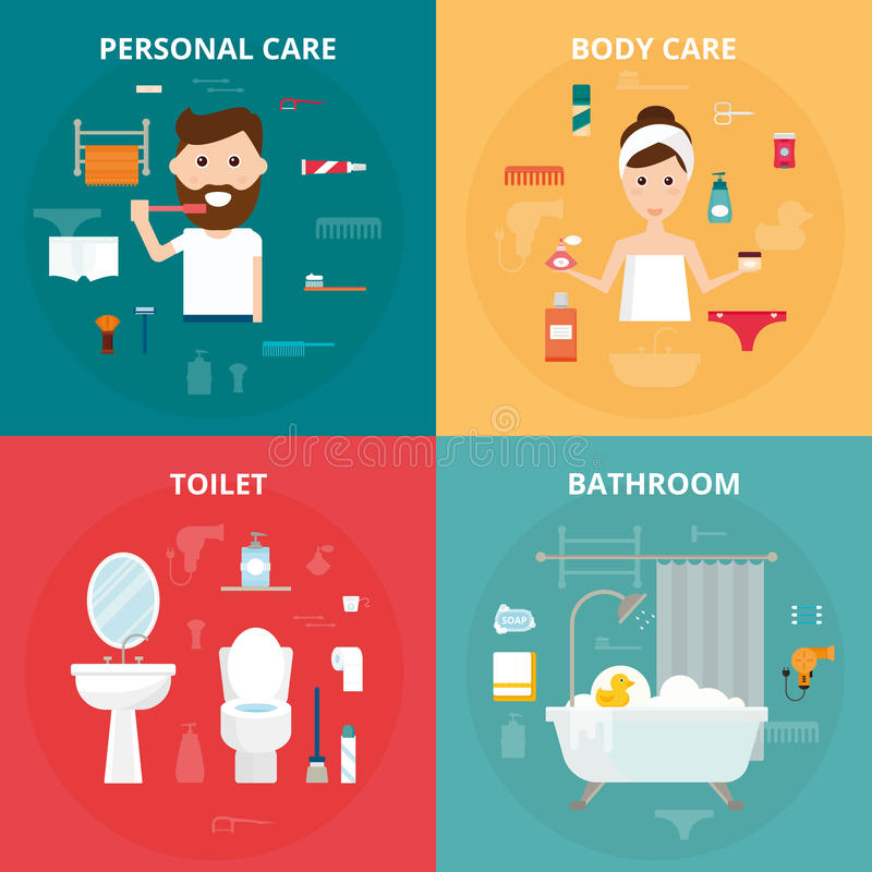 Man and woman hygiene icons vector set on background. Face and skin cleaning, toilet and bathroom hygiene vector icons illustration. Hygiene toolls sign royalty free illustration