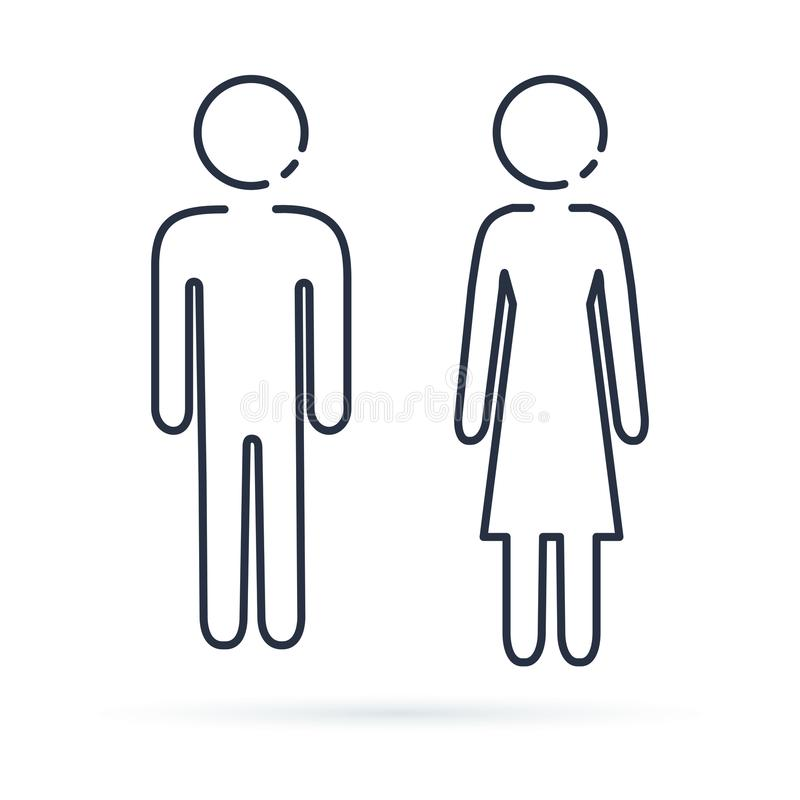 Man and Woman icon, isolated line illustration. stock illustration