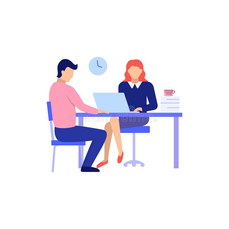 Man and Woman on interview conversation vector illustration. Man and Woman on interview conversation. New employee applicant and boss meeting sitting at his stock illustration