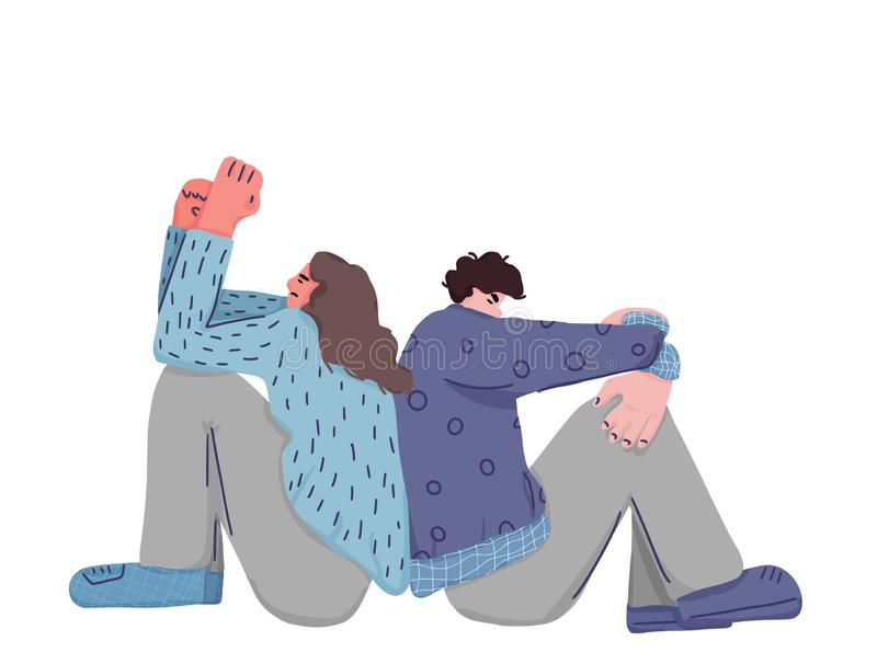 Man and woman are at issue. Vector illustartion. Man and woman are at variance. Husband and wife sitting on the floor with bad mood. Vector illustartion royalty free illustration
