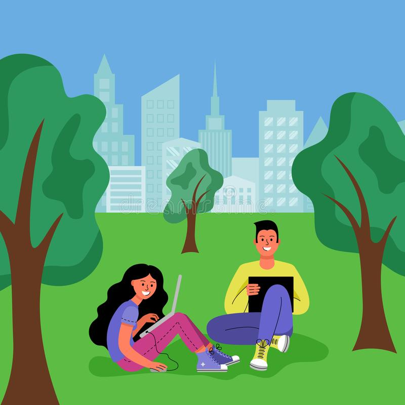 A man and a woman with laptops are sitting in a city park. Vector illustration. royalty free illustration