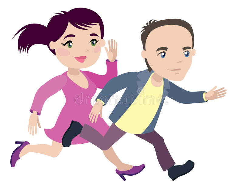 Man woman - late and run. Man and woman are late and run - businessman cartoon character series of drawings royalty free illustration