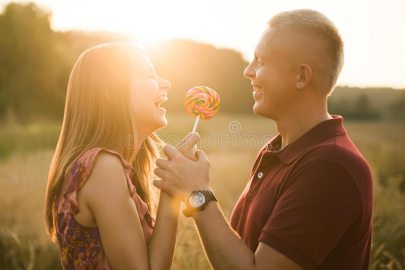 Man and woman laughing royalty free stock photography
