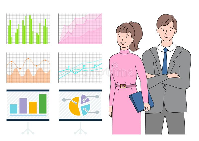 Man and Woman Looking at Statistics on Board. Information in visual representation vector, man and woman dealing with structural information concerning business royalty free illustration