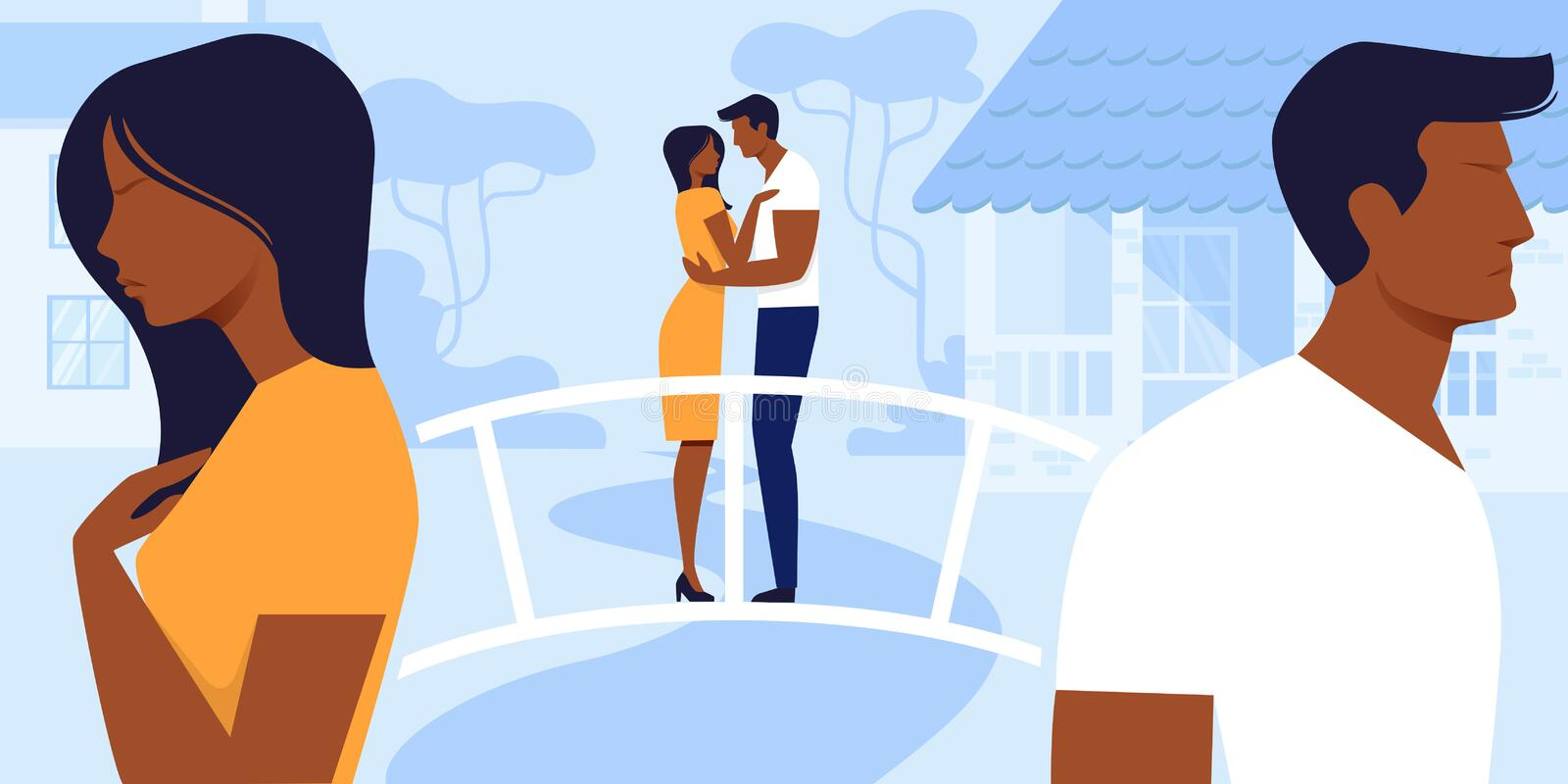 Man and Woman Love and Relations Sweet Life Moment. Man and Woman Love and Relations. Loving Couple Stand Back to Back being in Quarrel Remembering Sweet Life stock illustration
