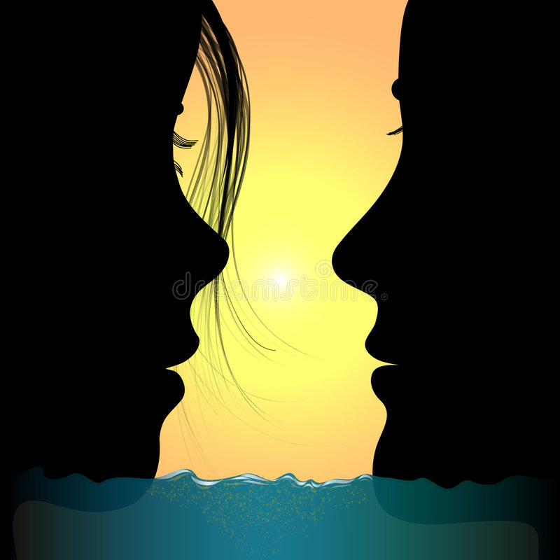 Man And Woman:love In Sea Stock Photography